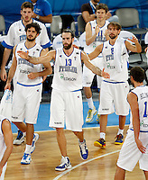 Italy`s Luigi Datome (13) gestures during European basketball championship Eurobasket 2013, round 2, group F  basketball game between Italy and Spain in Stozice Arena in Ljubljana, Slovenia, on September 16. 2013. (credit: Pedja Milosavljevic  / thepedja@gmail.com / +381641260959)