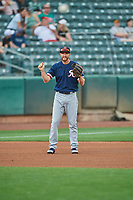 Jantzen Witte (35) of the Tacoma Rainiers during the game against the Salt Lake Bees at Smith's Ballpark on May 16, 2021 in Salt Lake City, Utah. The Bees defeated the Rainiers 8-7. (Stephen Smith/Four Seam Images)