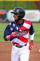 Quad Cities River Bandits outfielder Bryan De La Cruz (16) during a Midwest League game against the Peoria Chiefs on May 27, 2018 at Modern Woodmen Park in Davenport, Iowa. Quad Cities defeated Peoria 8-3. (Brad Krause/Four Seam Images)