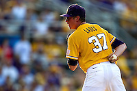 LSU Tigers pitcher Ryan Eades #37 looks in for the sign during the NCAA Super Regional baseball game against Stony Brook on June 10, 2012 at Alex Box Stadium in Baton Rouge, Louisiana. Stony Brook defeated LSU 7-2 to advance to the College World Series. (Andrew Woolley/Four Seam Images)