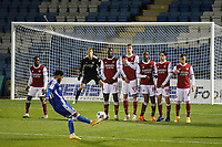 The Arsenal defensive wall of Levi Laing (No 72), Nikolaj Moller (No 43), Zane Monlouis (No 89), Joel Lopez (No 49) and Catalin Cirjan (No 68) anxiously look on as Gillingham's Trae Coyle, currently on loan from Arsenal, takes a free-kick during Gillingham vs Arsenal Under-21, Papa John's Trophy Football at the MEMS Priestfield Stadium on 10th November 2020