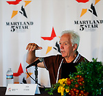 October 15, 2021: Fair Hill cross-country course designer Ian Stark talks to media during a press conference during the Maryland Five-Star at the Fair Hill Special Event Zone in Fair Hill, Maryland on October 15, 2021. Jon Durr/Eclipse Sportswire/CSM