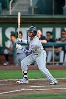 Jonathan Piron (2) of the Grand Junction Rockies follows through on his swing against the Ogden Raptors during the Pioneer League game at Lindquist Field on August 24, 2016 in Ogden, Utah. The Raptors defeated the Rockies 11-10. (Stephen Smith/Four Seam Images)