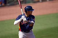 Houston Astros Jeremy Peña (89) bats during a Major League Spring Training game against the St. Louis Cardinals on March 20, 2021 at Roger Dean Stadium in Jupiter, Florida.  (Mike Janes/Four Seam Images)