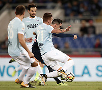 Calcio, Serie A: Roma, stadio Olimpico, 20 settembre 2017.<br /> Napoli's José Maria Callejon (r) scores during the Italian Serie A football match between Lazio and Napoli at Rome's Olympic stadium, September 20, 2017.<br /> UPDATE IMAGES PRESS/Isabella Bonotto