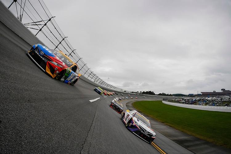 #11: Denny Hamlin, Joe Gibbs Racing, Toyota Camry FedEx Express, #18: Kyle Busch, Joe Gibbs Racing, Toyota Camry M&M's