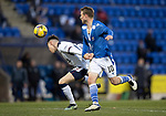 St Johnstone v Rangers…21.04.21   McDiarmid Park   SPFL<br />Nathan Patterson pulls at David Wotherspoon's shirt<br />Picture by Graeme Hart.<br />Copyright Perthshire Picture Agency<br />Tel: 01738 623350  Mobile: 07990 594431