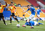 St Johnstone v Partick Thistle...29.03.14    SPFL<br /> Steven MacLean's shot is saved by Paul Gallacher<br /> Picture by Graeme Hart.<br /> Copyright Perthshire Picture Agency<br /> Tel: 01738 623350  Mobile: 07990 594431