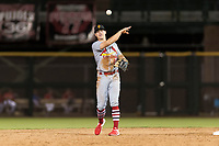 Surprise Saguaros second baseman Andy Young (29), of the St. Louis Cardinals organization, throws during an Arizona Fall League game against the Scottsdale Scorpions at Scottsdale Stadium on October 15, 2018 in Scottsdale, Arizona. Surprise defeated Scottsdale 2-0. (Zachary Lucy/Four Seam Images)