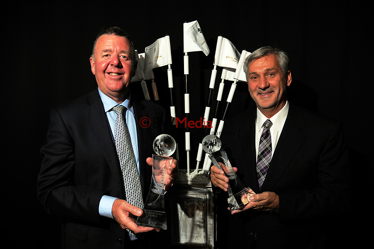 Greg Turner and Frank Nobilo. The 2017 NZ Golf Hall Of Fame induction ceremony at the Wharewaka Function Centre in Wellington, New Zealand on Tuesday, 24 October 2017. Photo: Dave Lintott / lintottphoto.co.nz