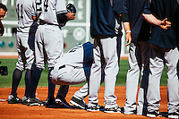 BOSTON, MASS. - SEPT. 28, 2014: Derek Jeter lines up with the rest of the Yankees for the National Anthem before the New York Yankees and Boston Red Sox play at Fenway Park. The game is last game of Derek Jeter's career. M. Scott Brauer for The New York Times