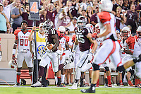 Texas A&M wide receiver Speedy Noil (2) rushes for first down on a fourth down play during second half of NCAA Football game, Saturday, September 06, 2014 in College Station, Tex. Texas A M defeated Lamar 73-3. (Mo Khursheed/TFV Media via AP Images)