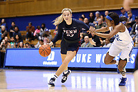 DURHAM, NC - NOVEMBER 29: Phoebe Sterba #33 of the University of Pennsylvania drives with the ball during a game between Penn and Duke at Cameron Indoor Stadium on November 29, 2019 in Durham, North Carolina.