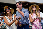 SARATOGA SPRINGS, NY - AUGUST 25: Spectators cheer when their horse win a race on Travers Stakes Day at Saratoga Race Course on August 25, 2018 in Saratoga Springs, New York. (Photo by Scott Serio/Eclipse Sportswire/Getty Images)