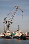 Crane and Tugs in Southampton Dock, England, UK