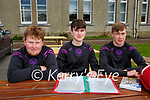 David Foley, Josh Moore and Naoise Daly after their Leaving Cert exam in St Brendans College on Monday morning