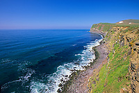Coastal landscape of the shore of St. Paul Island, Bering sea, Pribilof Islands, Alaska.