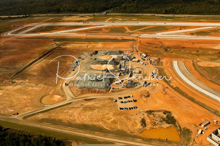 Aerial photo of the new runway under construction at Charlotte Douglas International Airport, taken October 2008.