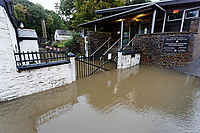 Pictured: The flooded entrance of Aberdulais Falls in south Wales, UK. Saturday 13 October 2018<br /> Re: Flooding caused by Storm Callum in Aberdulais near Neath, south Wales, UK.