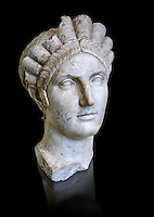 Roman marble portrait bust of Matidia circa119 AD from Via Giolitti, Rome. Matidia was Sabina's mother and Hadrian's wife. The high level of idealisation of the portrait suggests that it was made after her death. Capitoline Museums, Rome