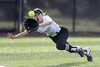 Bentonville left fielder Alleyna Rushing (24) forces an out on a leaping catch, Thursday, April 29, 2021 during a softball game at Bentonville High School in Bentonville. Check out nwaonline.com/210430Daily/ for today's photo gallery. <br /> (NWA Democrat-Gazette/Charlie Kaijo)