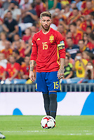 Spain's Sergio Ramos during match between Spain and Italy to clasification to World Cup 2018 at Santiago Bernabeu Stadium in Madrid, Spain September 02, 2017. (ALTERPHOTOS/Borja B.Hojas)