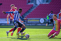27th September 2020; Ashton Gate Stadium, Bristol, England; English Football League Championship Football, Bristol City versus Sheffield Wednesday; Fisayo Dele-Bashiru of Sheffield Wednesday tries to get a shot away under pressure from Alfie Mawson of Bristol City