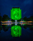 October 11, 2019; Hesburgh Library Word of Life mural lit in green light (Photo by Matt Cashore/University of Notre Dame)