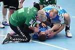 Sebastian Heymann (FAG) verletzt am Boden beim Spiel in der Handball Bundesliga, Frisch Auf Goeppingen - Fuechse Berlin.<br /> <br /> Foto © PIX-Sportfotos *** Foto ist honorarpflichtig! *** Auf Anfrage in hoeherer Qualitaet/Aufloesung. Belegexemplar erbeten. Veroeffentlichung ausschliesslich fuer journalistisch-publizistische Zwecke. For editorial use only.