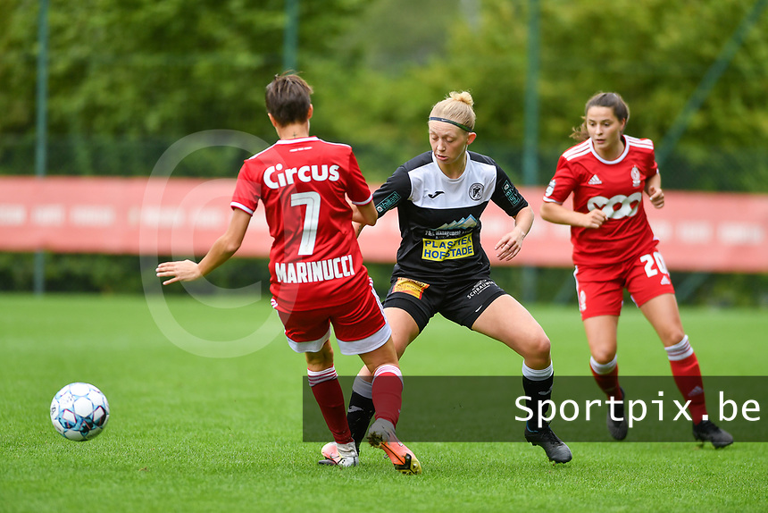 Maurane Marinucci (7) of Standard and Niekie Pellens (71) of Eendracht Aalst in action during a female soccer game between Standard Femina de Liege and Eendracht Aalst dames on the fourth matchday in the 2021 - 2022 season of the Belgian Scooore Womens Super League , Saturday 11 th of September 2021  in Angleur , Belgium . PHOTO SPORTPIX | BERNARD GILLET
