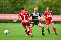 Maurane Marinucci (7) of Standard and Niekie Pellens (71) of Eendracht Aalst in action during a female soccer game between Standard Femina de Liege and Eendracht Aalst dames on the fourth matchday in the 2021 - 2022 season of the Belgian Scooore Womens Super League , Saturday 11 th of September 2021  in Angleur , Belgium . PHOTO SPORTPIX   BERNARD GILLET
