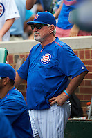 Chicago Cubs manager Joe Maddon (70) during a game against the Milwaukee Brewers on August 13, 2015 at Wrigley Field in Chicago, Illinois.  Chicago defeated Milwaukee 9-2.  (Mike Janes/Four Seam Images)