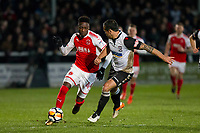 Devante Cole of Fleetwood Town takes on Ryan Green of Hereford during the FA Cup 2nd round replay match between Hereford and Fleetwood Town at Edgar Street, Hereford, UK on 14 December 2017. Photo by Mark Hawkins / PRiME Media Images.