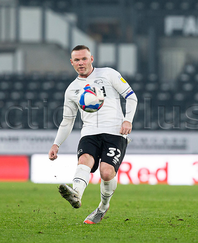 7th November 2020; Pride Park, Derby, East Midlands; English Football League Championship Football, Derby County versus Barnsley; Wayne Rooney of Derby County passing the ball forward
