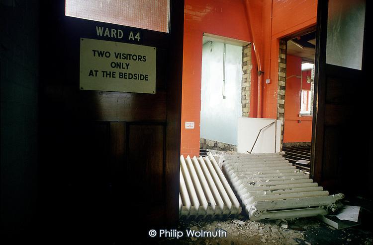 UK.Demolition of St.Mary's Hospital, Harrow Road, London.