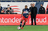 FOXBOROUGH, MA - APRIL 24: Andrew Farrell #2 of New England Revolution looks to pass during a game between D.C. United and New England Revolution at Gillette Stadium on April 24, 2021 in Foxborough, Massachusetts.