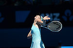 Maria Sharapova (RUS) defeats Karin Knapp (ITA) at the Australian Open in Melbourne, Australia on January 16, 2014.  Sharapova won, 6-3, 4-6, 10-8