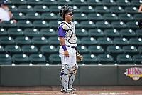 Winston-Salem Dash catcher Daniel Gonzalez (13) on defense against the Buies Creek Astros at BB&T Ballpark on April 16, 2017 in Winston-Salem, North Carolina.  The Dash defeated the Astros 6-2.  (Brian Westerholt/Four Seam Images)