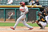 Xavier Scruggs (16) of the Memphis Redbirds at bat against the Salt Lake Bees at Smith's Ballpark on June 18, 2014 in Salt Lake City, Utah.  (Stephen Smith/Four Seam Images)