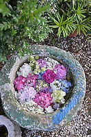 A view from above of colourful flower heads are arranged in a stone container.