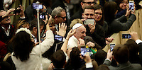 Papa Francesco saluta i fedeli al suo arrivo all'udienza generale del mercoledi' in aula Paolo VI in Vaticano, 28 dicembre 2016.<br /> Pope Francis waves faithful as he arrives to lead  his weekly general audience in Paul VI Hall at the Vatican, on December 28, 2016.<br /> UPDATE IMAGES PRESS/Isabella Bonotto<br /> <br /> STRICTLY ONLY FOR EDITORIAL USE