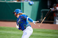 Garrett Hope (44) of the Ogden Raptors bats against the Billings Mustangs at Lindquist Field on August 13, 2017 in Ogden, Utah. The Raptors defeated the Mustangs 6-5.  (Stephen Smith/Four Seam Images)