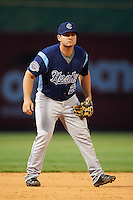 Corpus Christi Hooks third baseman Tyler White (20) during a game against the Arkansas Travelers on May 29, 2015 at Dickey-Stephens Park in Little Rock, Arkansas.  Corpus Christi defeated Arkansas 4-0 in a rain shortened game.  (Mike Janes/Four Seam Images)