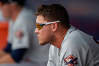 Lakeland Flying Tigers JaCoby Jones (36), on rehab assignment from the Detroit Tigers, during a Florida State League game against the Tampa Tarpons on April 7, 2019 at George M. Steinbrenner Field in Tampa, Florida.  Tampa defeated Lakeland 3-2.  (Mike Janes/Four Seam Images)