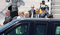 President Barack Obama greet Las Vegas Mayor Carolyn Goodman,L, and Susan Brager as he exits Air Force One  arriving in Las Vegas, Thursday, June 7, 2012.   Obama will speak at the University of Nevada, Las Vegas, to promote ways to help students pay off loans in a struggling economy.  (Photo John Gurzinski)