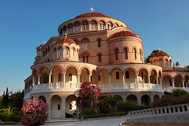 Monastery of Ayios (Saint) Nektarios where he died in 1921 and in buried. Aegina, Greek Saronic Islands