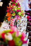 Colorful bouquets on the head table at the Fesch ranch in Steamboat Springs Colorado.