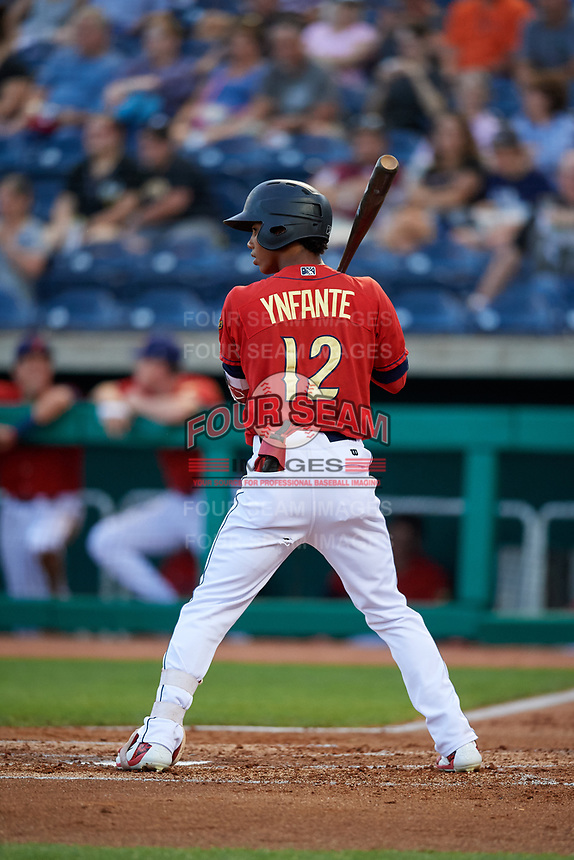 State College Spikes center fielder Wadye Ynfante (12) at bat during a game against the West Virginia Black Bears on August 30, 2018 at Medlar Field at Lubrano Park in State College, Pennsylvania.  West Virginia defeated State College 5-3.  (Mike Janes/Four Seam Images)