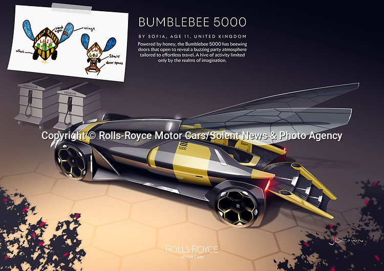Pictured: Rolls-Royce Bumblebee 5000 by Sofia, aged 11.  UK Winner in the Rolls-Royce young designer competition.<br /> <br /> Rolls Royce has unveiled what may be the future of motor transport - a car based on a bumblebee and powered by honey.  The prestigious British car manufacturer brought to life a series of the best futuristic concepts, including the outlandish bee car which features wings and was designed by an 11 year old schoolgirl.<br /> <br /> More than 5,000 designs and blueprints were submitted by children across 80 countries as part of a competition during lockdown. The firm's design team at Goodwood, West Sussex, then used the same software they would for a real Rolls-Royce project to digitally enhance the drawings. SEE OUR COPY FOR DETAILS.<br /> <br /> Please byline: Rolls-Royce Motor Cars/Solent News<br /> <br /> © Rolls-Royce Motor Cars/Solent News & Photo Agency<br /> UK +44 (0) 2380 458800