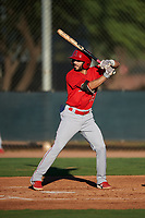 AZL Angels Jose Guzman (16) at bat during an Arizona League game against the AZL D-backs on July 20, 2019 at Salt River Fields at Talking Stick in Scottsdale, Arizona. The AZL Angels defeated the AZL D-backs 11-4. (Zachary Lucy/Four Seam Images)